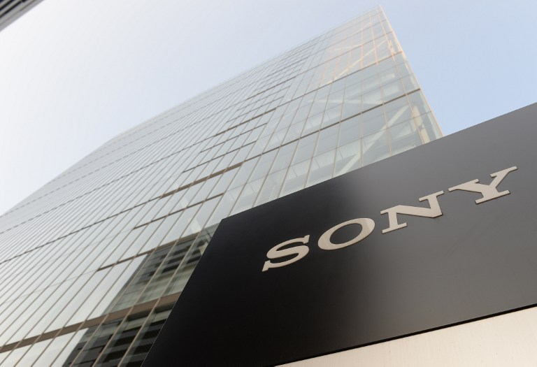 Outside view of the Sony headquarters building in Tokyo on 9 May 2013.