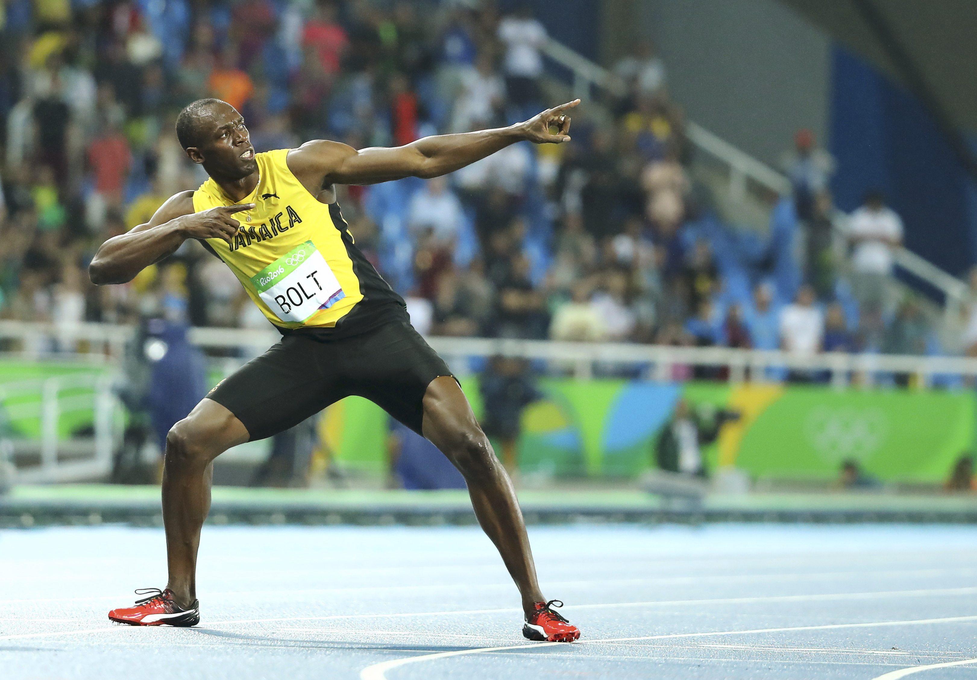 Selebrasi kemenangan Usain Bolt setelah meraih medali emas di Olimpiade Rio 2016.