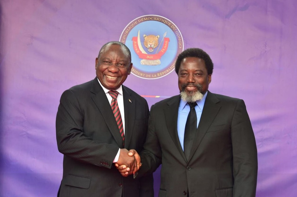 President Cyril Ramaphosa and President Joseph Kabila discuss bilateral cooperation as well as political and security developments in the region and continent, as well as global issues of mutual concern.