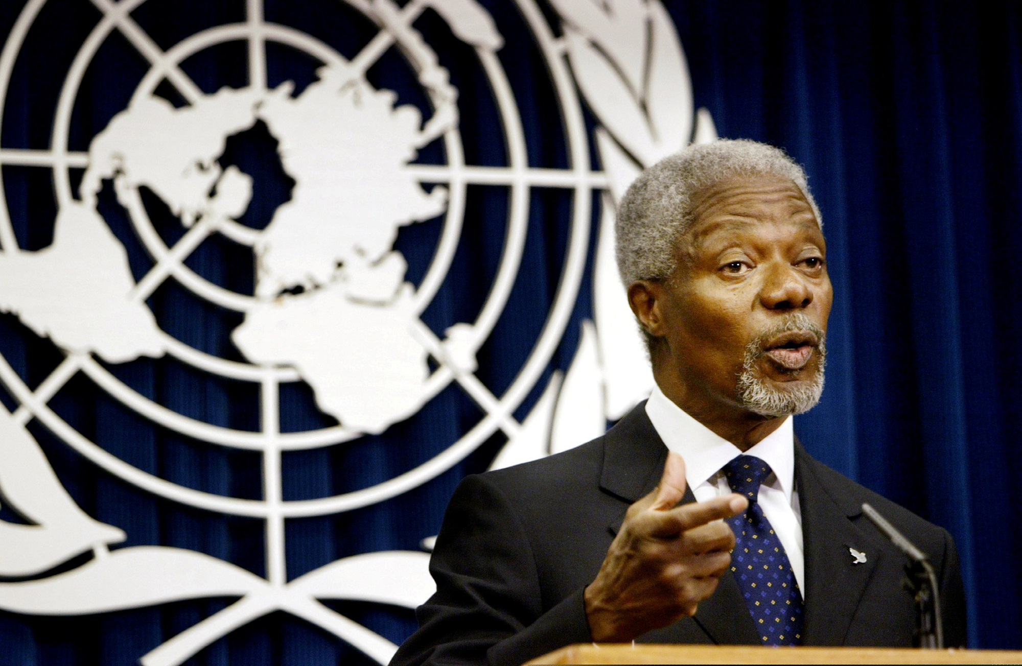 File: Kofi Annan served as the seventh UN chief for almost 10 years and was awarded the Nobel prize in 2001.