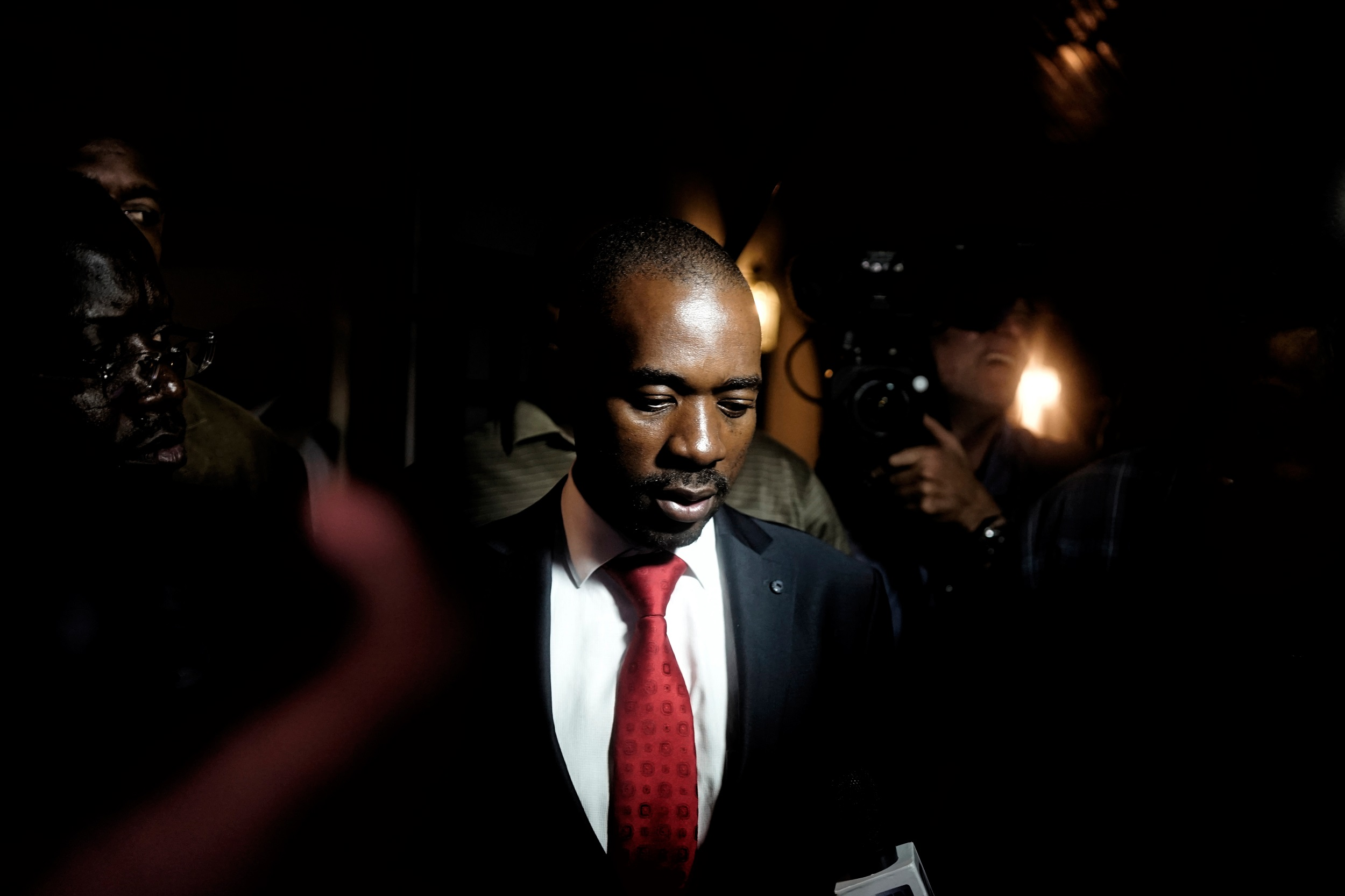 Zimbabwean opposition party Movement for Democratic Change (MDC) Alliance president Nelson Chamisa speaks to the press after a press conference in Harare.