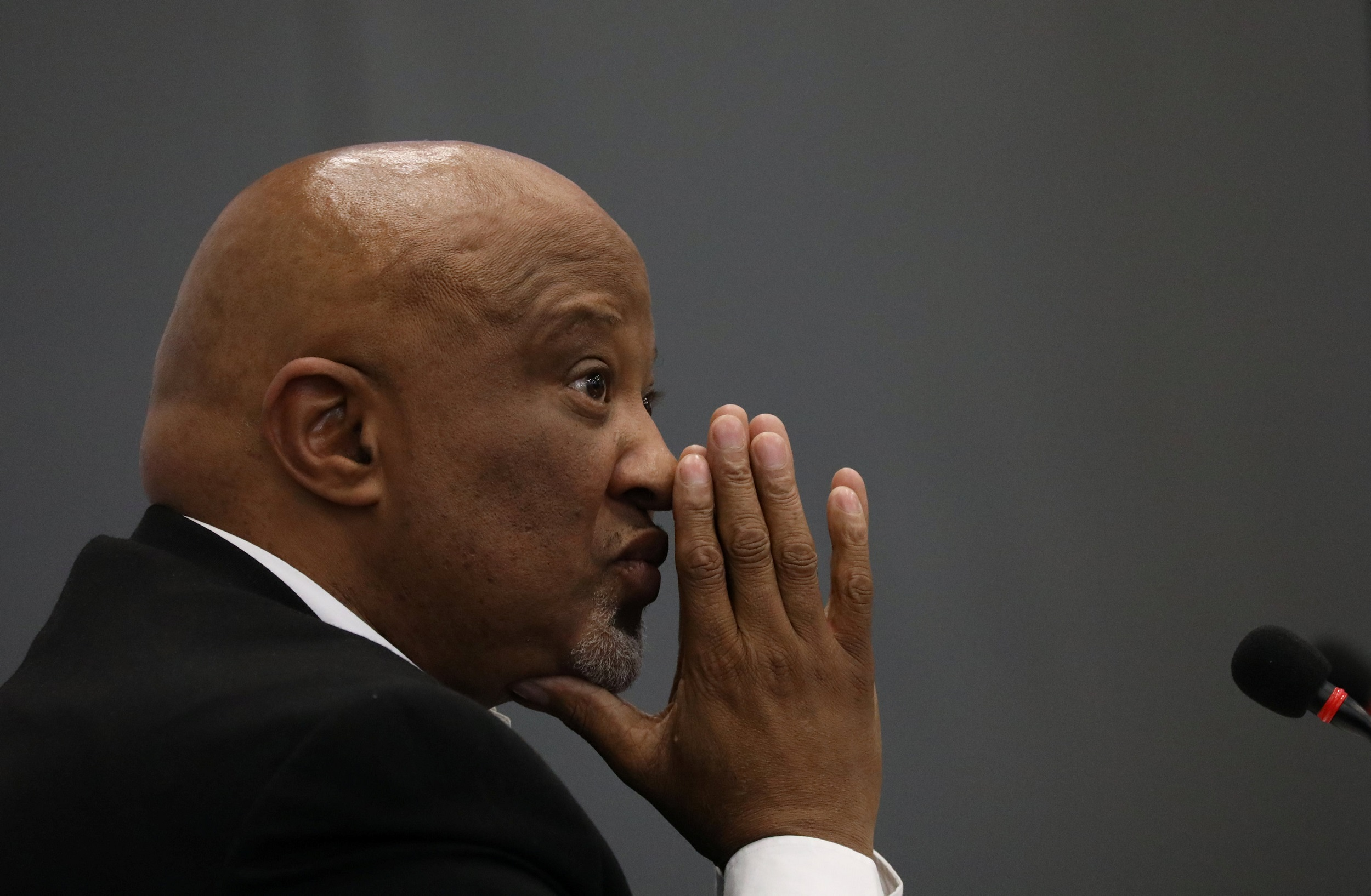 Former Deputy Finance Minister Mcebisi Jonas gestures ahead of the Judicial Commission of Inquiry probing state capture in Johannesburg.