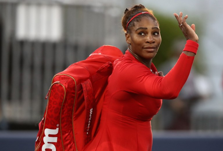 "File: Tennis superstar Serena Williams caused an internet sensation Sunday by posing topless for a video while singing ""I Touch Myself"" to raise awareness for breast cancer."