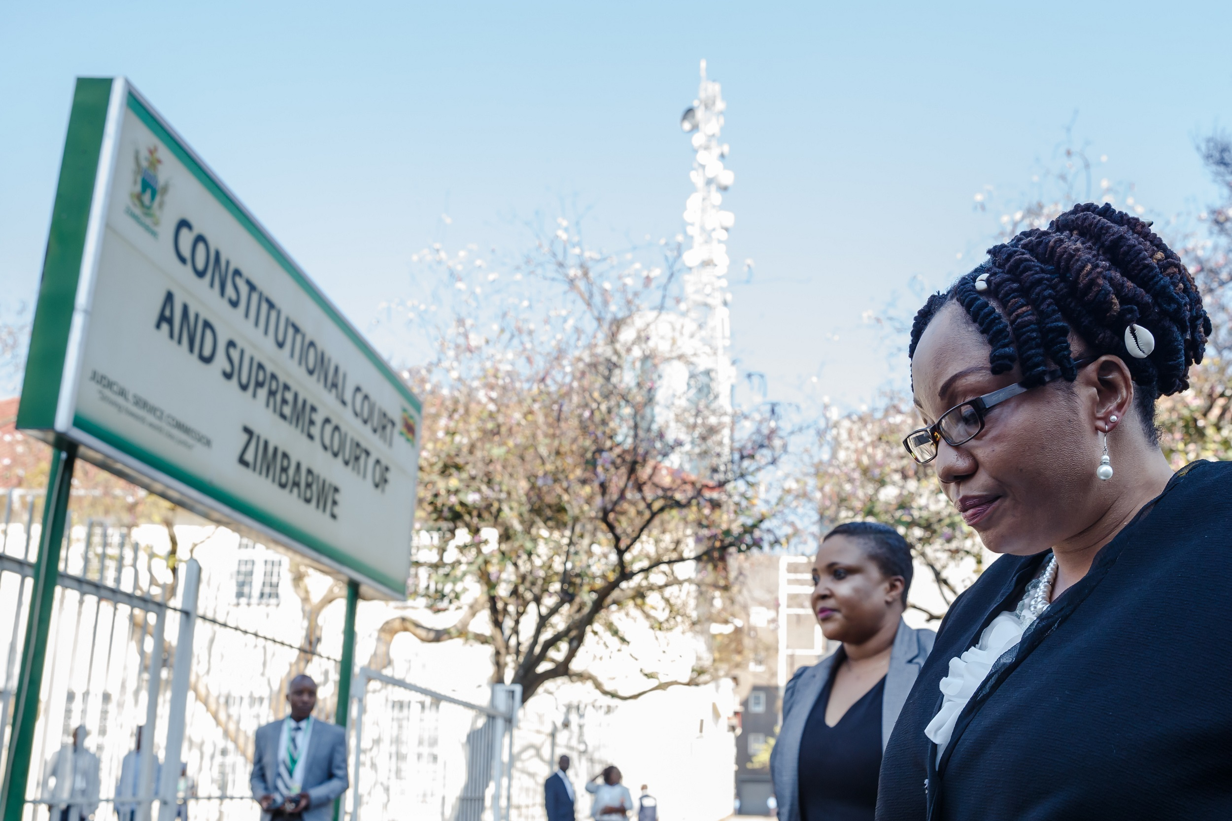 Zimbabwe Electoral Commission (ZEC) chairperson Priscilla Chigumba arrives at Harare courthouse. The Constitutional Court said it would hand down its verdictafter considering arguments put before judges on Wednesday.