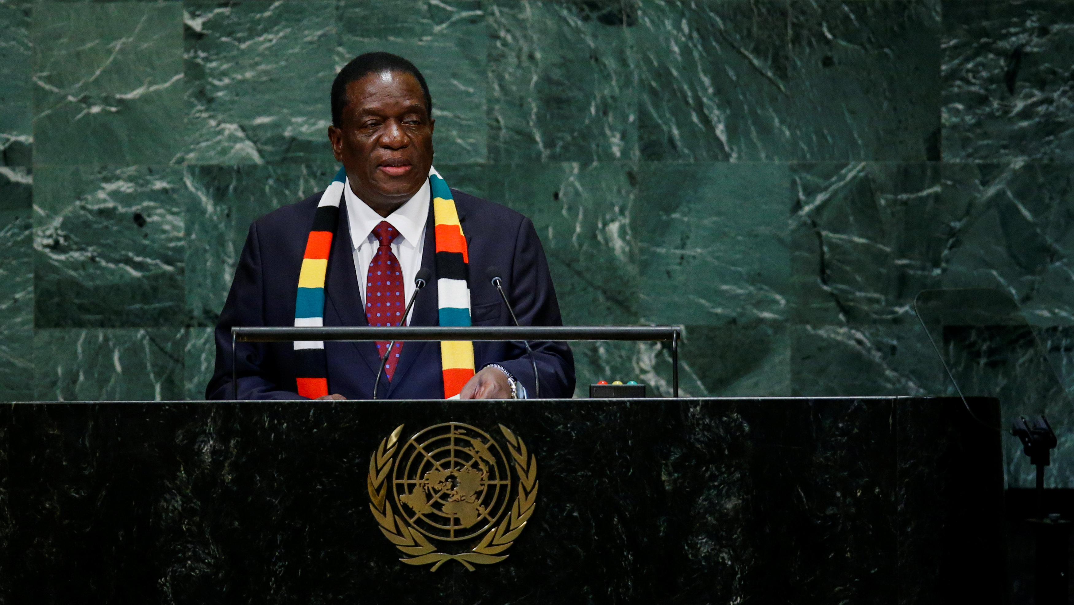 File: Zimbabwe's President Emmerson Mnangagwa addresses the 73rd session of the United Nations General Assembly at U.N. headquarters in New York, U.S., September 26, 2018.