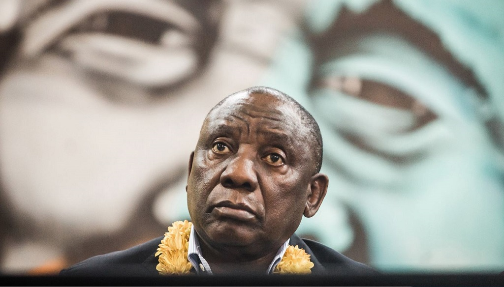 "President Cyril Ramaphosa looks on during a meeting of the ANC ""Thuma Mina"" (Send Me) campaign launch at the Nelson Mandela Youth Centre in Chatsworth township outside of Durban on September 8, 2018."