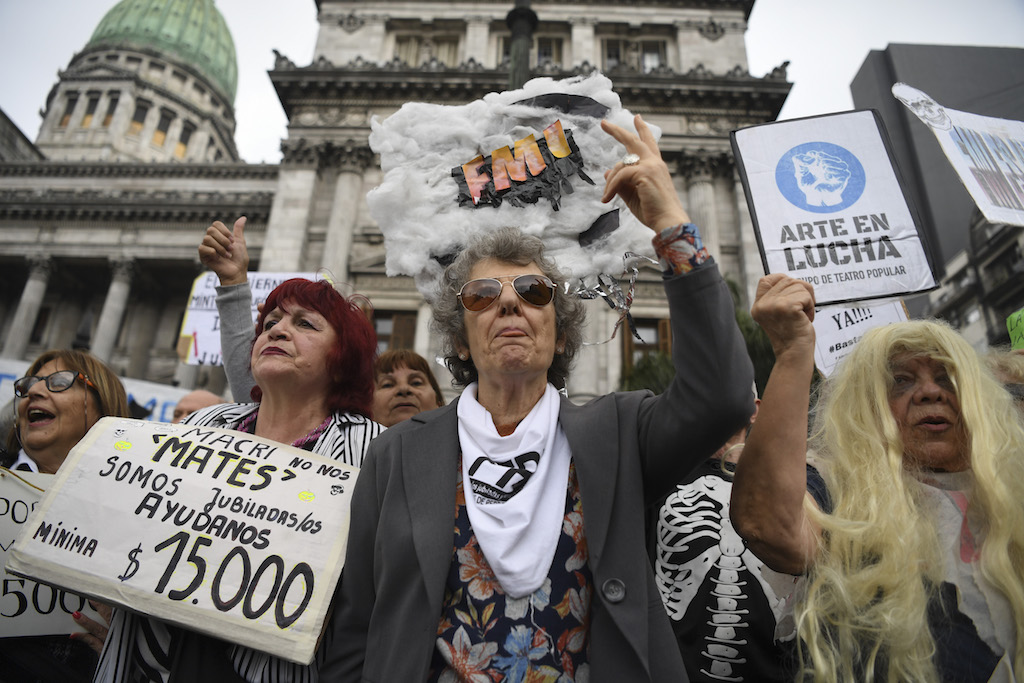 Retirees protest outside the National Congress in Buenos Aires against the government's agreement with the International Monetary Fund (IMF) and in demand for a raise in their pensions.