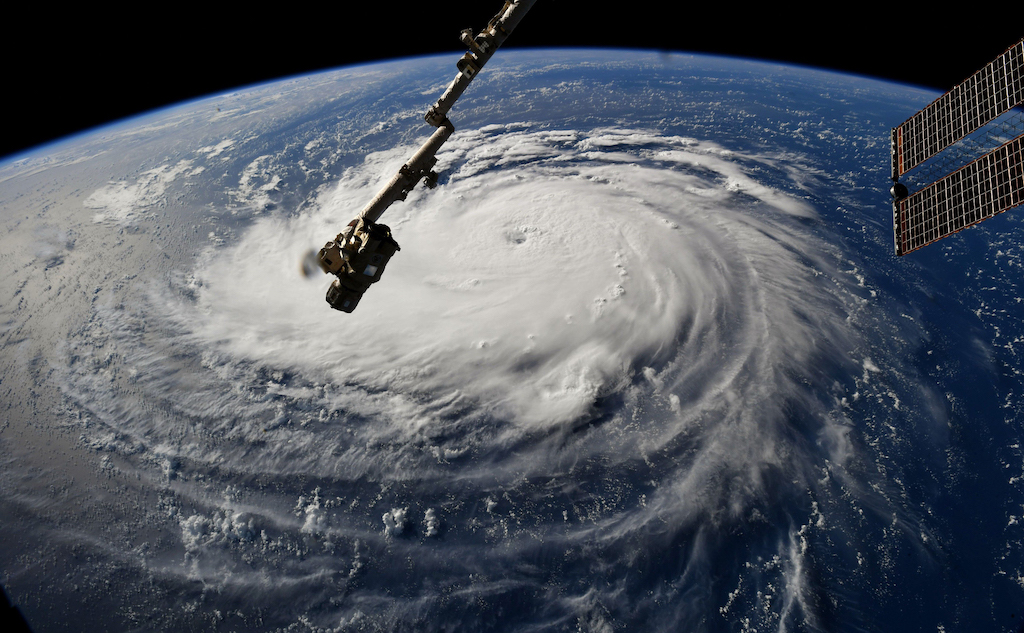 A view from the International Space Station of Hurricane Florence off the US east coast in the Atantic Ocean