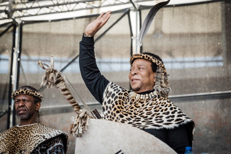Zulu King Goodwill Zwelithini greets his supporters at The Moses Mabhida Football Stadium in Durban on October 7, 2018, during Umkhosi Welembe, an annual commemoration of Zulu King Shaka ka Senzangakhona, a revered military strategist who united the tribes to form the Zulu Nation.