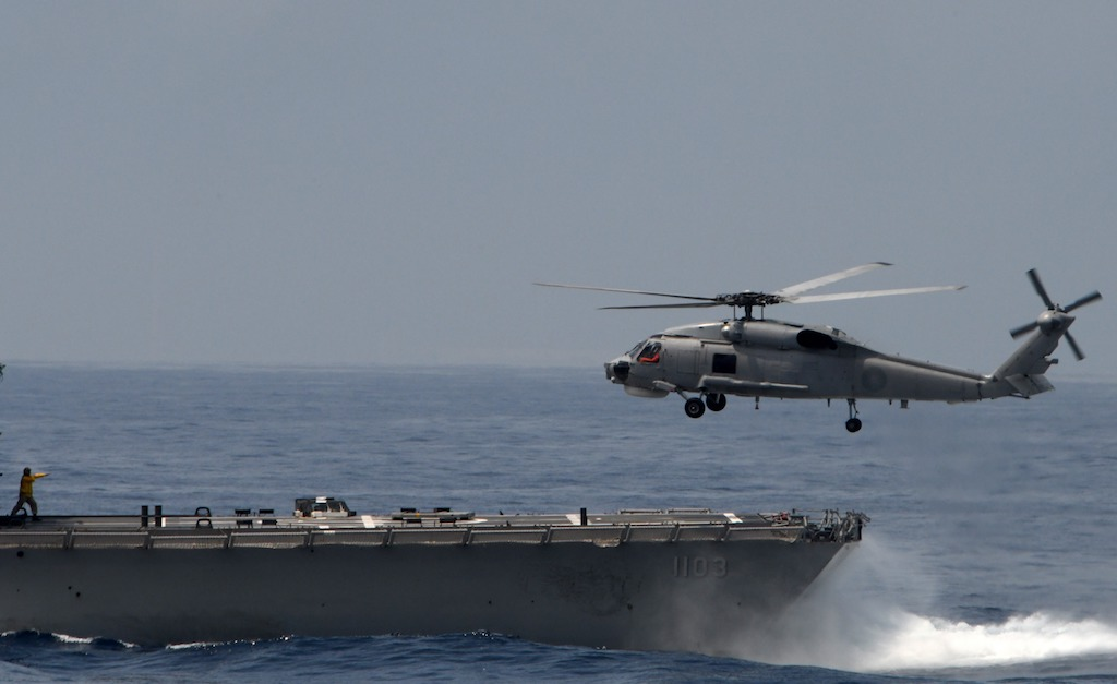 Seahawk helicopter crashed on the USS Ronald Reagan's flight deck
