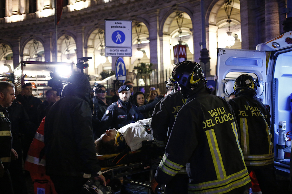 20 hurt as Rome metro escalator speeds up, then collapses