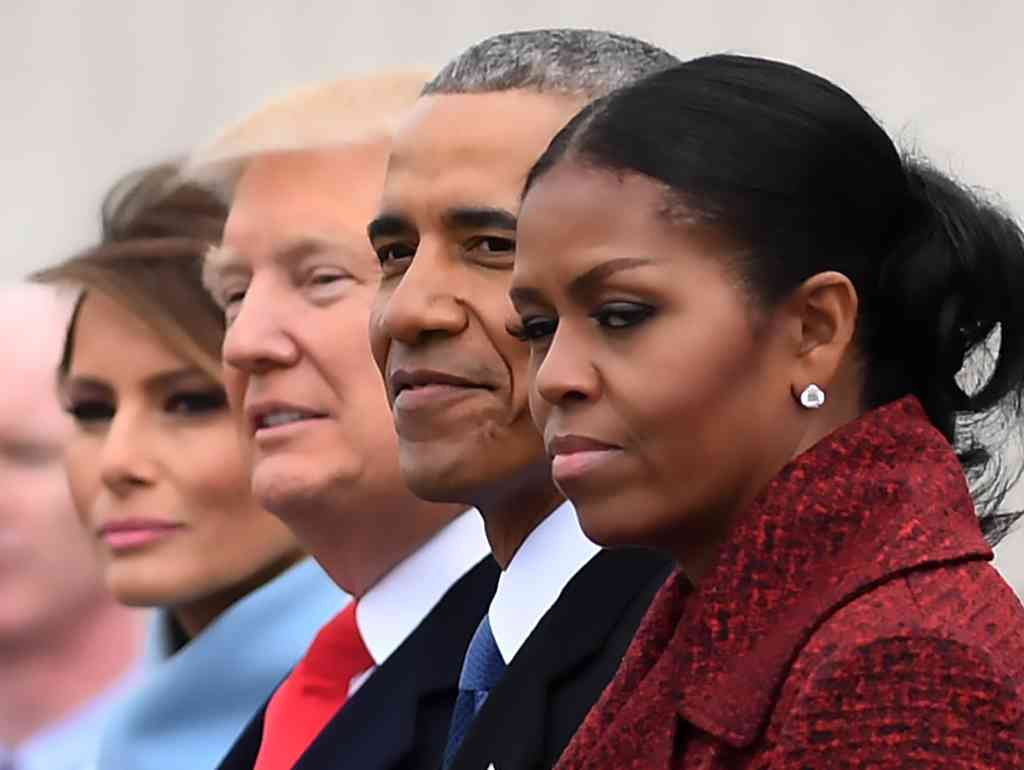 FILE: First Lady Melania Trump, President Donald Trump, former President Barack Obama, Michelle Obama at the US Capitol after inauguration ceremonies at the in Washington, DC, on January 20, 2017.