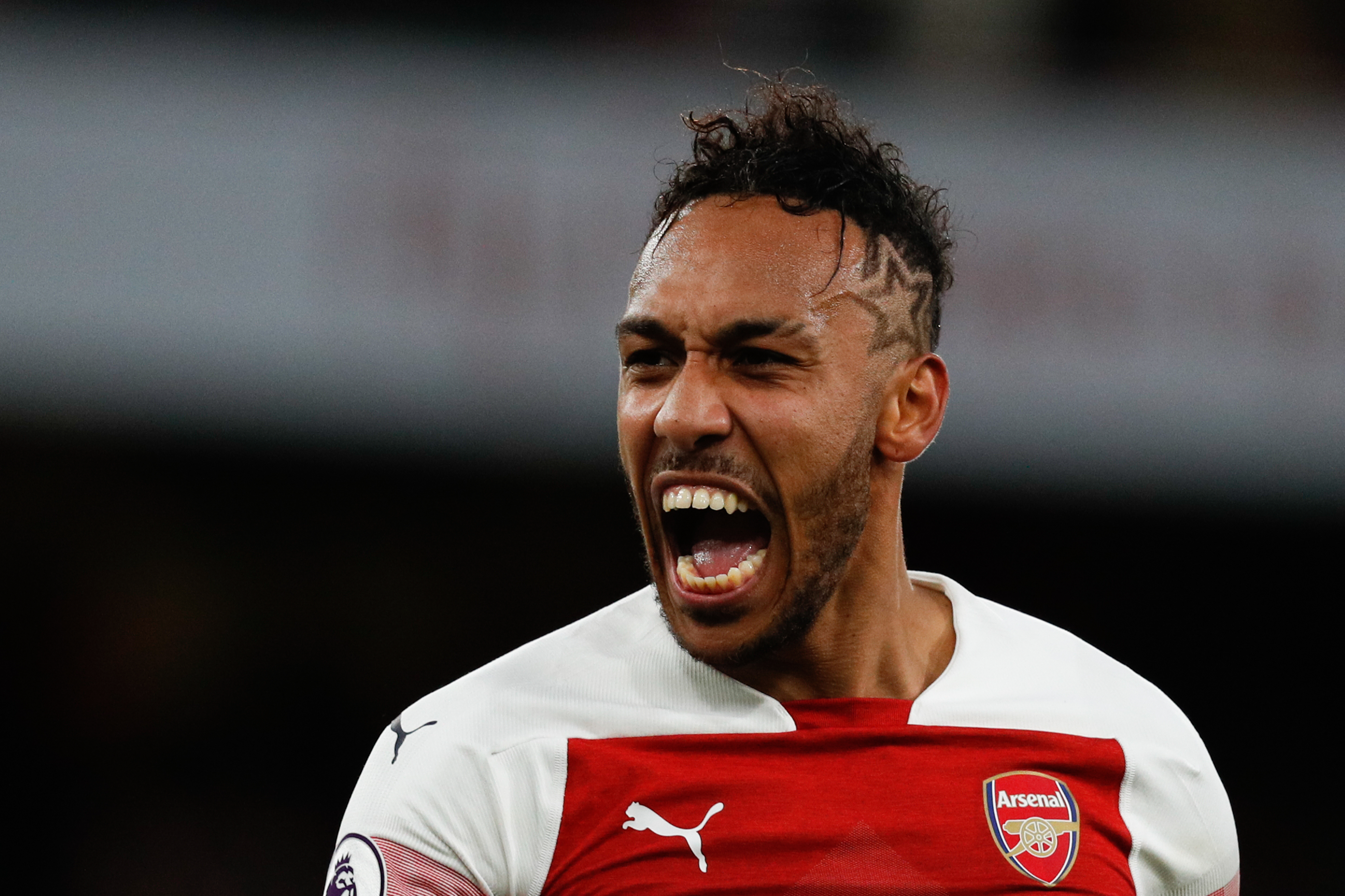 Arsenal's Gabonese striker Pierre-Emerick Aubameyang celebrates on the pitch after the English Premier League football match between Arsenal and Tottenham Hotspur at the Emirates Stadium in London on December 2, 2018.