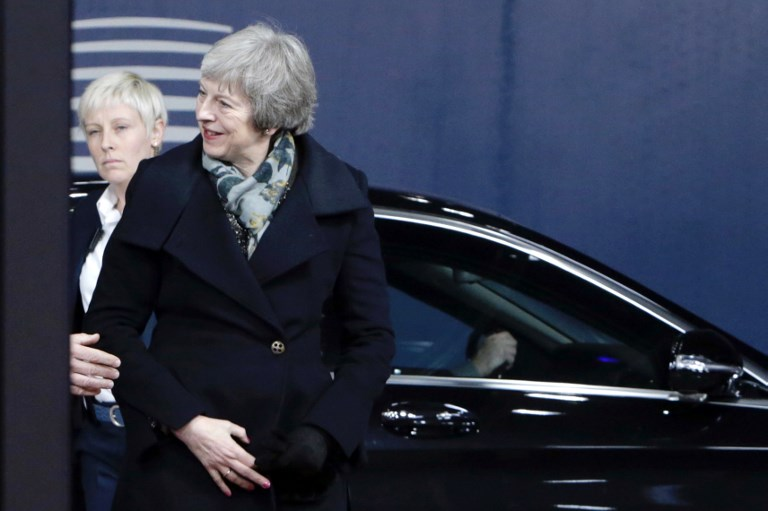 British Prime minister Theresa May arrives for a meeting with EU commission chief as part of the Brexit negotiations, on December 11, 2018 in Brussels.