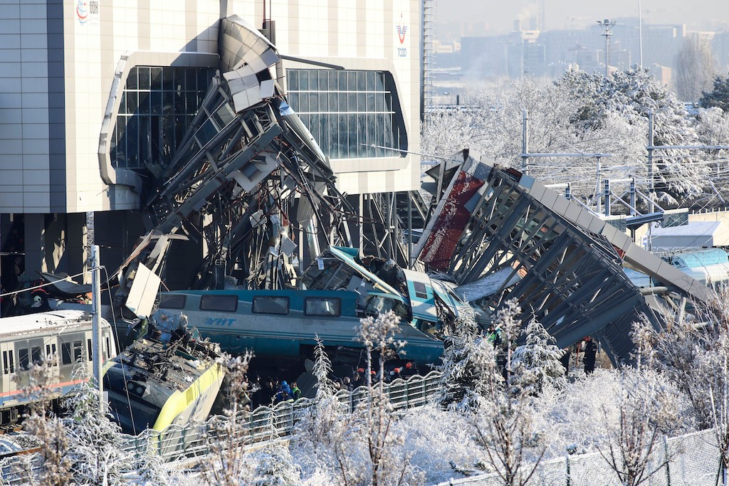 The scene after a high-speed train crashed into a locomotive in Ankara.