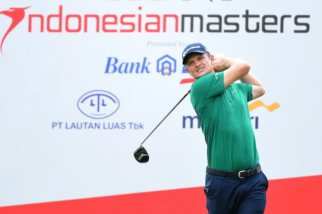 Justin Rose of England hitting a shot at the Indonesian Masters golf tournament at the Royale Jakarta Golf Club in Jakarta.