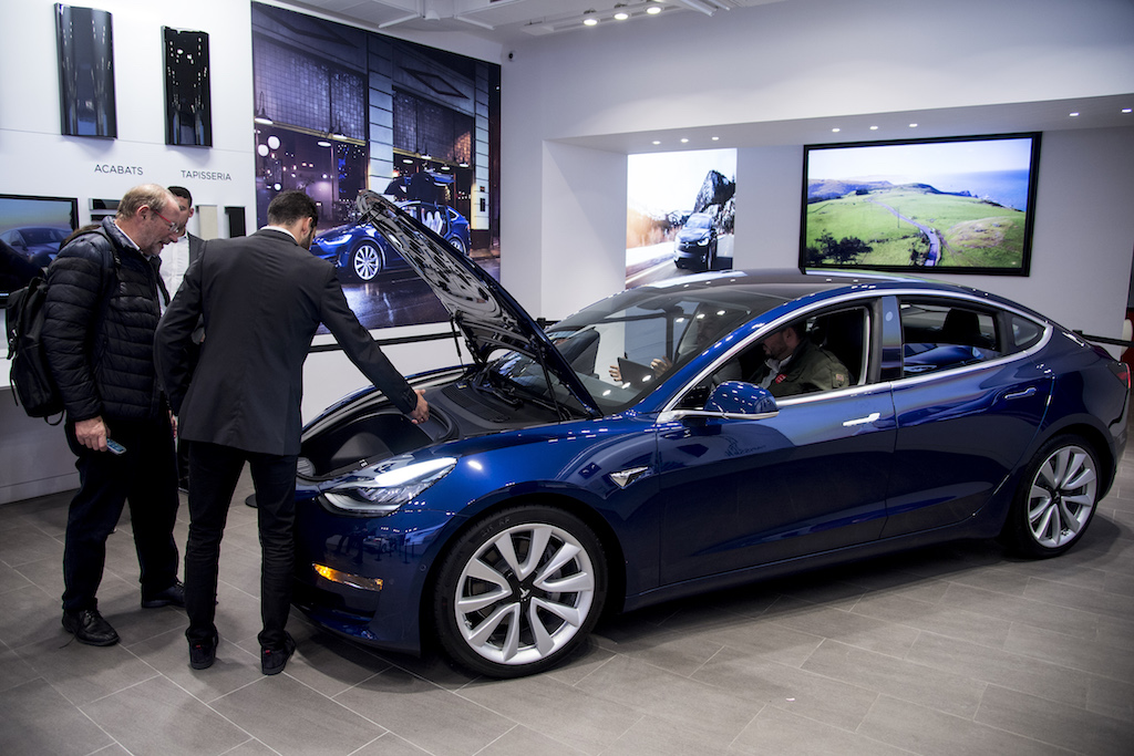 Tesla's mid-size, four-door all-electric family car was first unveiled in its US home base in July last year.