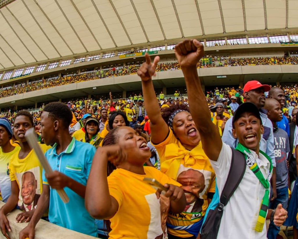 Supporters of the ANC gathered to celebrate the establishment of the party.