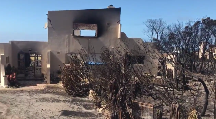 One of the homes in Betty's Bay that has been burnt.