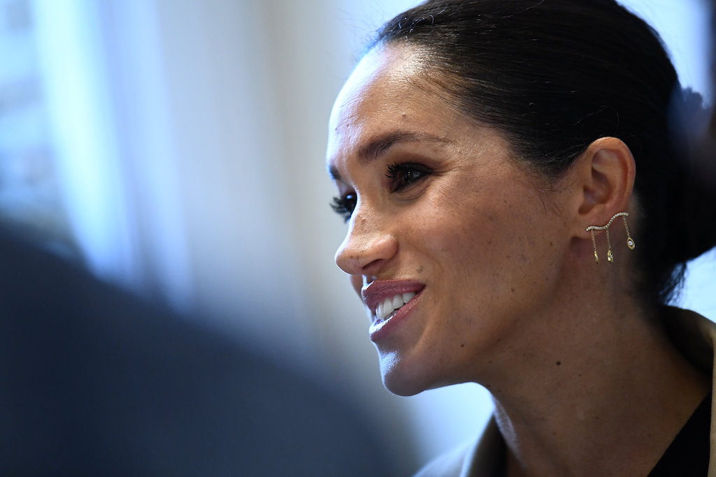 Meghan Markle, the Duchess of Sussex, is pictured during her visit at Smart Works charity in West London.