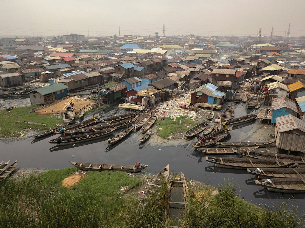 A shanty slum built on stilts in the Bariga waterfront fishing community in Lagos, Nigeria's commercial capital.