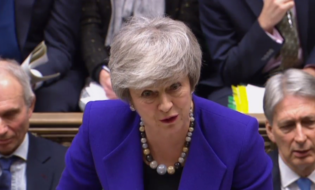 Britain's Prime Minister Theresa May speaks during the weekly Prime Minister's Questions (PMQs) in the House of Commons in London.