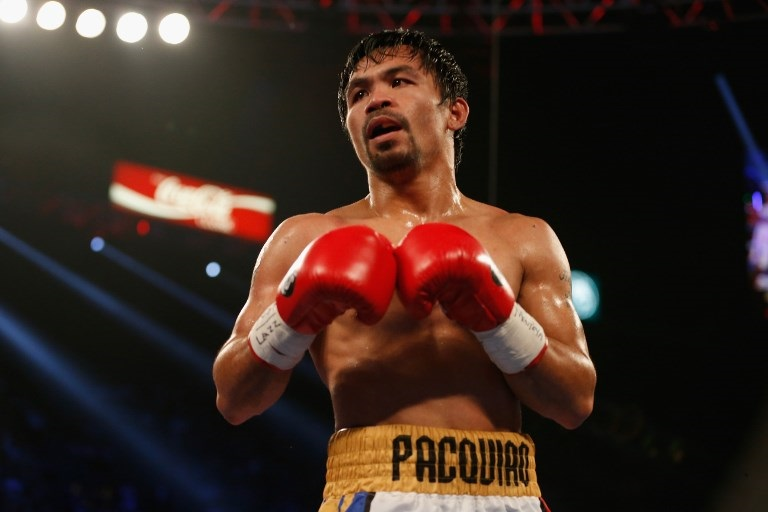 Manny Pacquiao during the welterweight championship fight against Timothy Bradley Jr at the MGM Grand Garden Arena in Las Vegas, Nevada.
