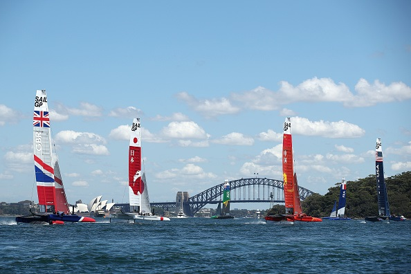 SailGP team race through Sydney Harbour during a practice session ahead of SailGP on Sydney Harbour on February 07, 2019 in Sydney, Australia.