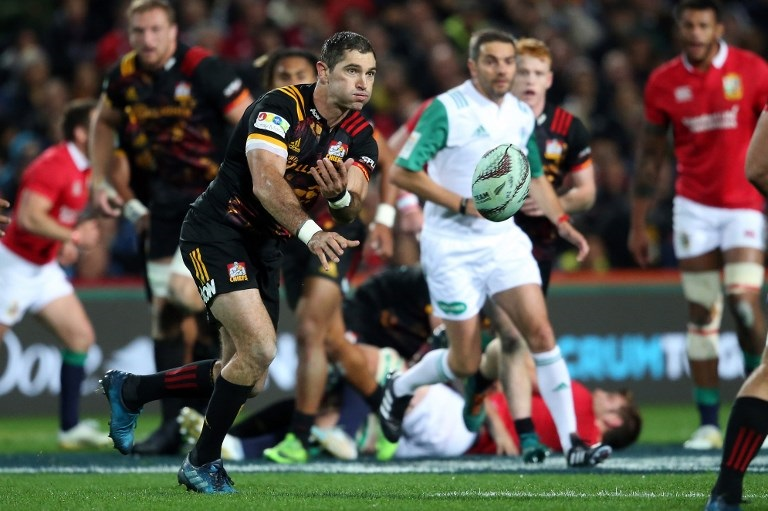 Waikato Chiefs' Stephen Donald passes the ball during the rugby union match between the British and Irish Lions and the Waikato Chiefs at FMG Stadium Waikato in Hamilton on June 20, 2017.