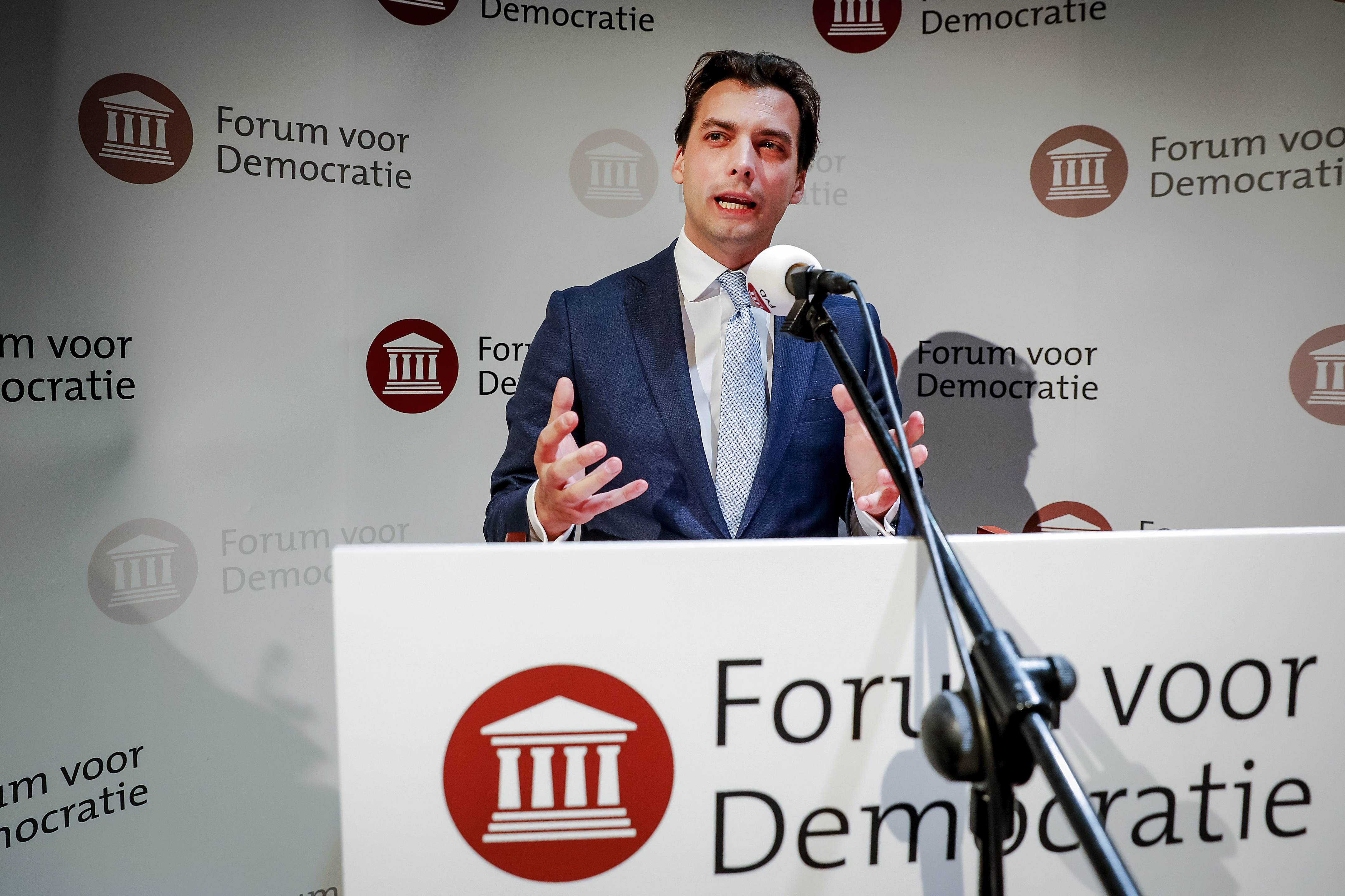 Thierry Baudet from Forum for Democracy (FVD) party gives a speech during the election night of the Provincial Council elections and the water board elections on March 21, 2019 in Zeist.