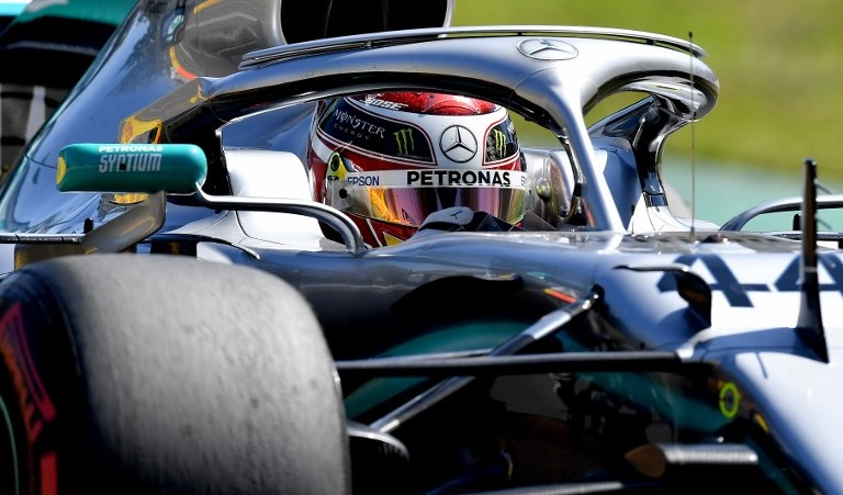 Mercedes' British driver Lewis Hamilton drives around the circuit during the first Formula One practice session in Melbourne on March 15, 2019, ahead of the Formula One Australian Grand Prix.
