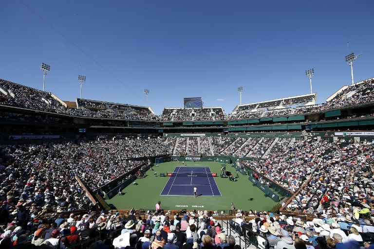 A general view of stadium one during a match between Roger Federer of Switzerland and Kyle Edmund of Great Britain during the BNP Paribas Open at the Indian Wells Tennis Garden.