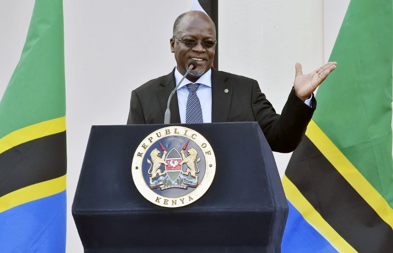 Tanzanian President John Pombe Magufuli speaks during a joint press conference.