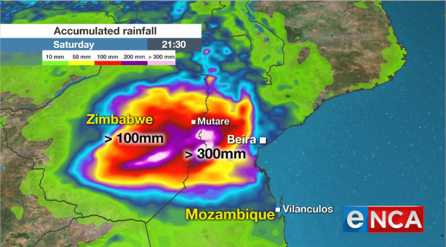 Rainfall accumulation as Cyclone Idai hits Mozambique