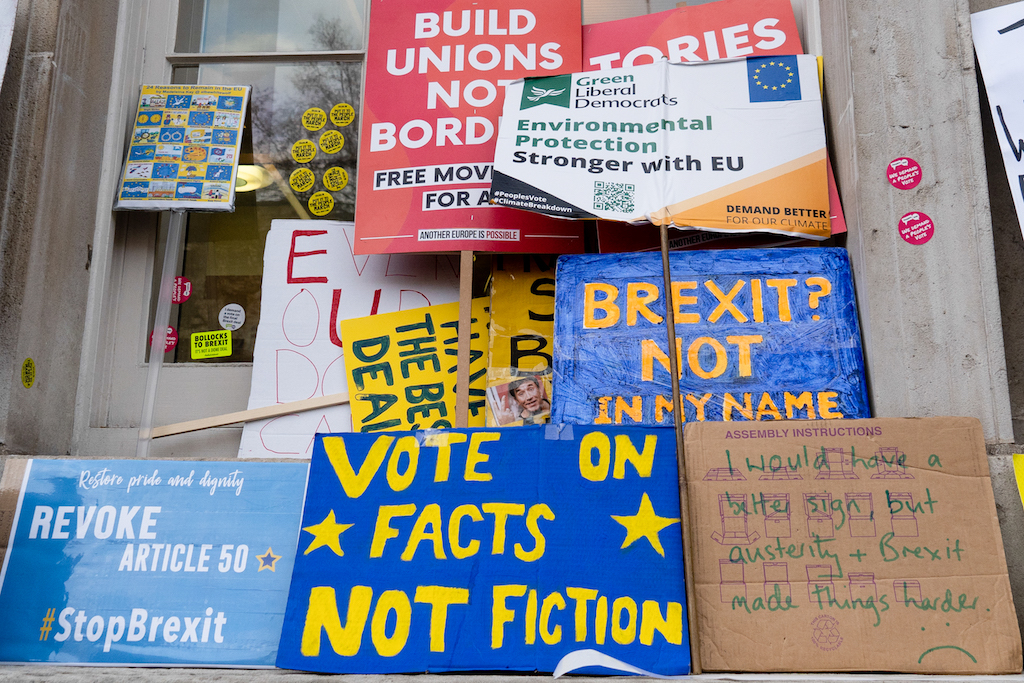 Abandoned placards are seen left outside the Cabinet Office on Whitehall after a march and rally organised by the pro-European People's Vote campaign.