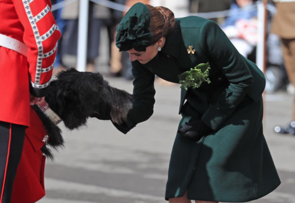 The Duchess of Cambridge hands out shamrocks to celebrate St Patrick's Day