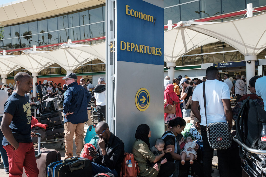 Passengers were blocked from entering Kenya Airways's departure terminal due to a strike by the airline workers.