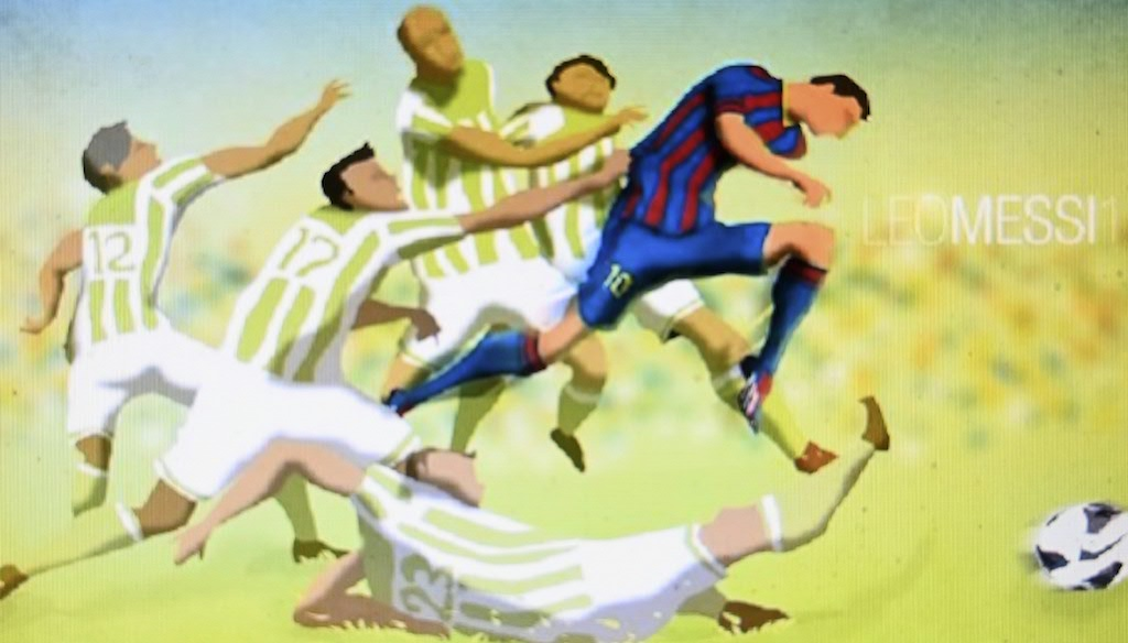 Bangladeshi architect Suhas Nahian's painting of Barcelona's Argentinian forward Lionel Messi (R) shooting to score a goal.
