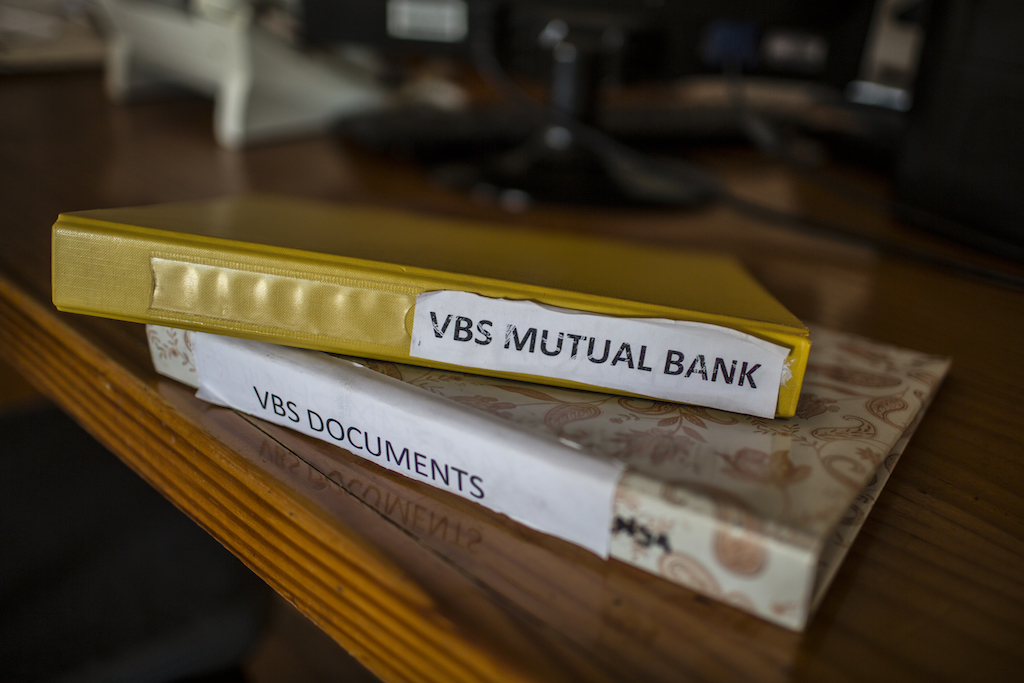 Files containing the paperwork of Aubrey Mulaudzi, a diesel mechanic who had been banking with VBS Mutual Bank since 1989.