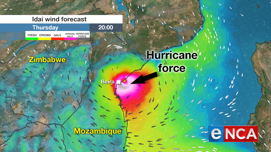 Winds on Thursday as Idai approaches Mozambique