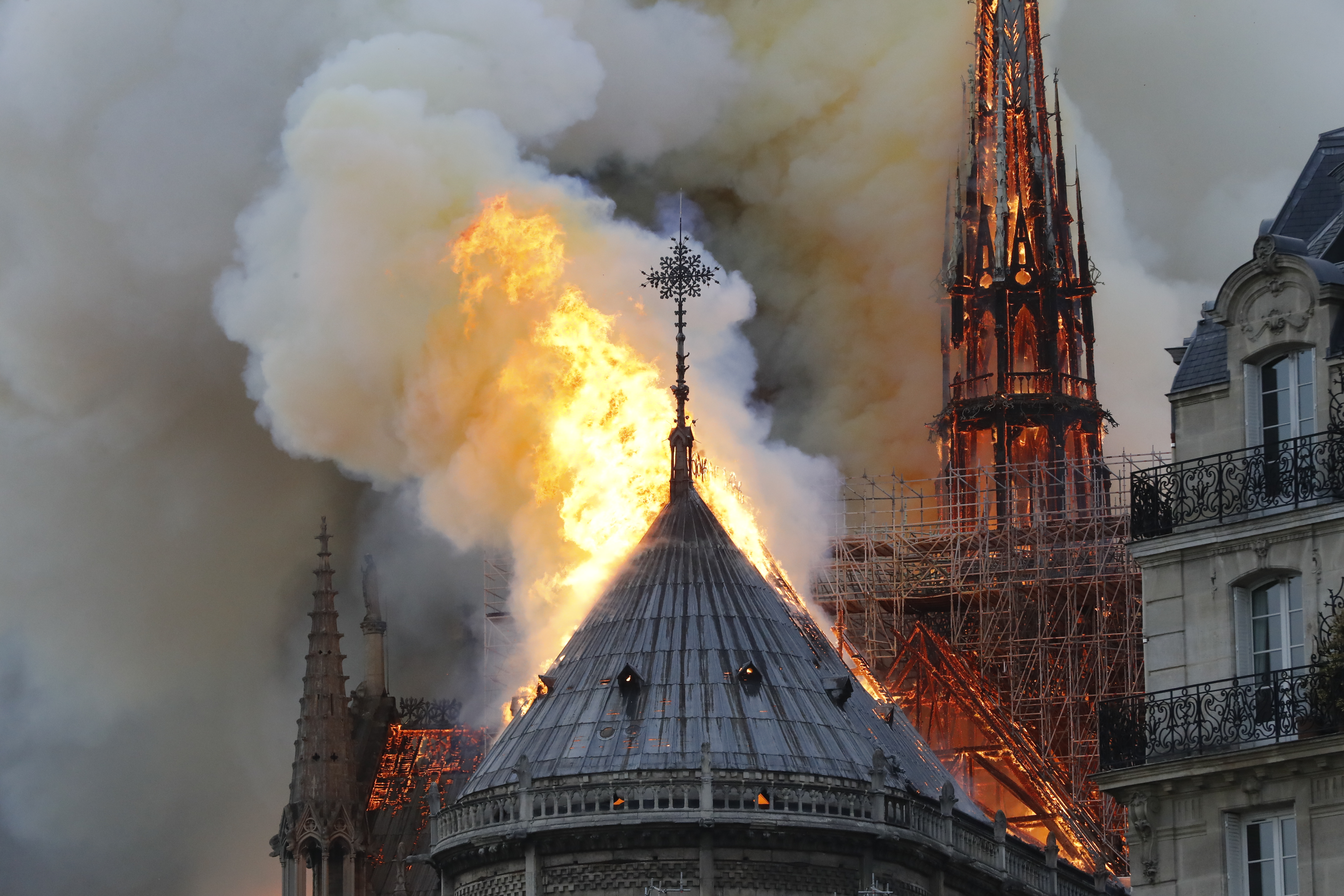 Array - major fire rips through roof of notre dame cathedral in paris   enca  rh   enca com