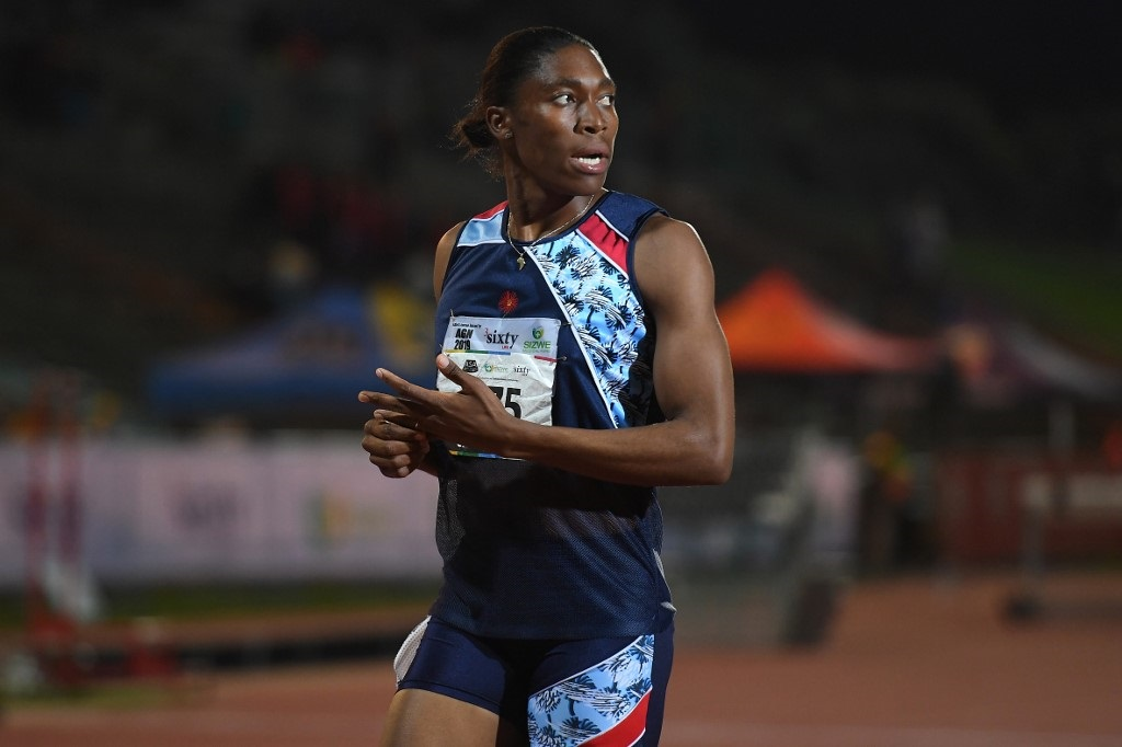 South African Olympic 800m champion Caster Semenya looks on after running the 1.500m senior women final at the ASA Senior Championships at Germiston Athletics stadium, in Germiston on the outskirts of Johannesburg.