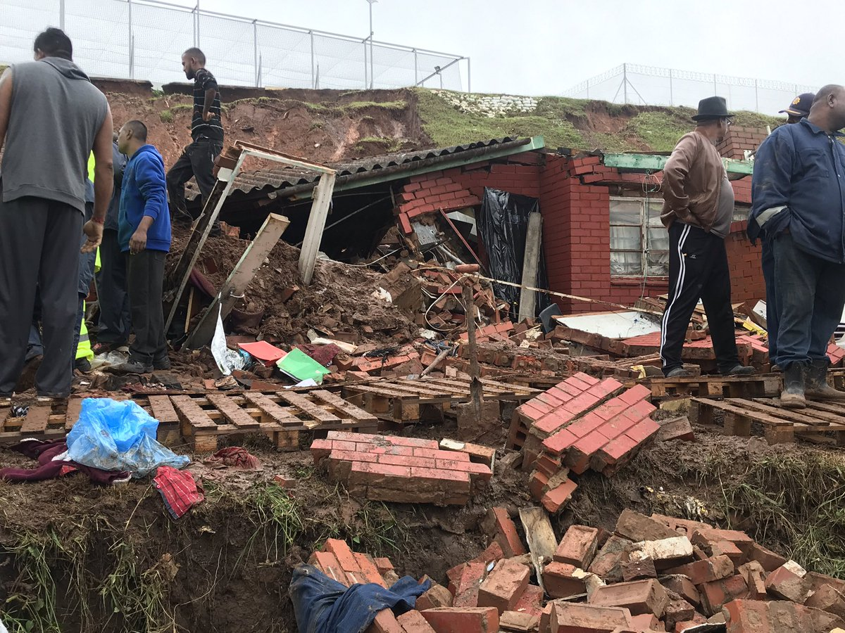 File: An image of a collapsed house in Durban after floods hit the area.