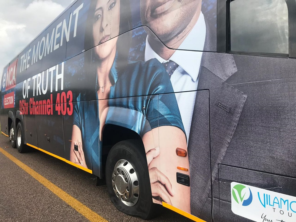 Election Bus flat tyre