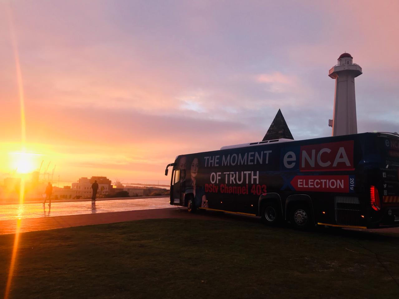 25 April - as the sun rises over Port Elizabeth, the eNCA Election Bus crew get ready to broadcast