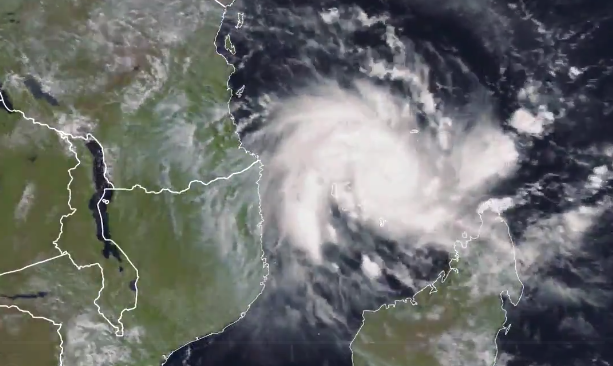 A satellite view of Cyclone Kenneth. Kenneth is heading for northern Mozambique's Cabo Delgado province.