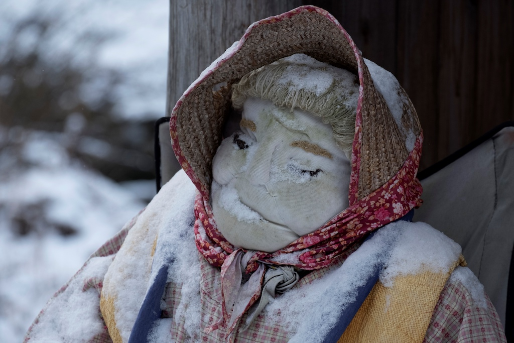 A life-size doll displayed at a bus stop in the tiny village of Nagoro in western Japan.