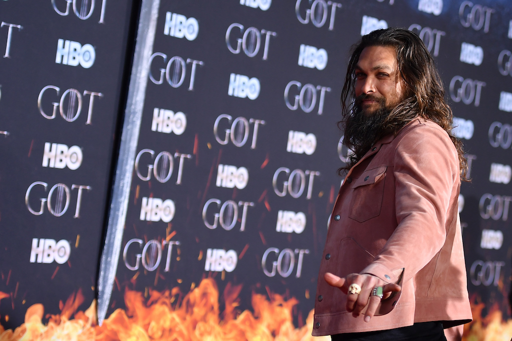 "US actor Jason Momoa arrives for the ""Game of Thrones"" eighth and final season premiere."