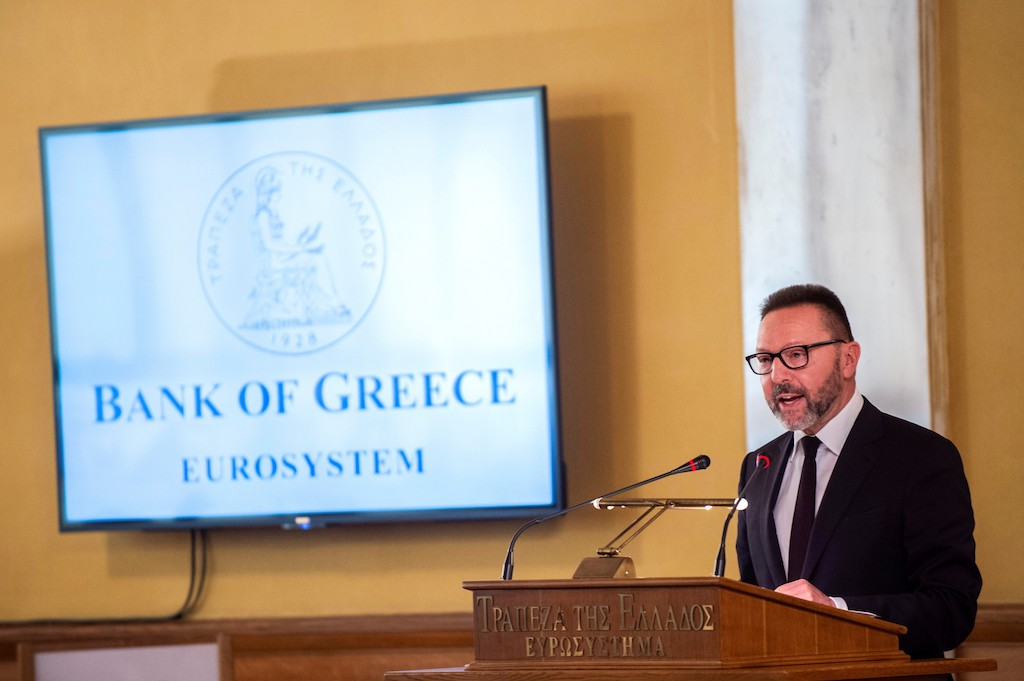 Bank of Greece governor Yannis Stournaras delivers a speech during a meeting of the bank's shareholders.