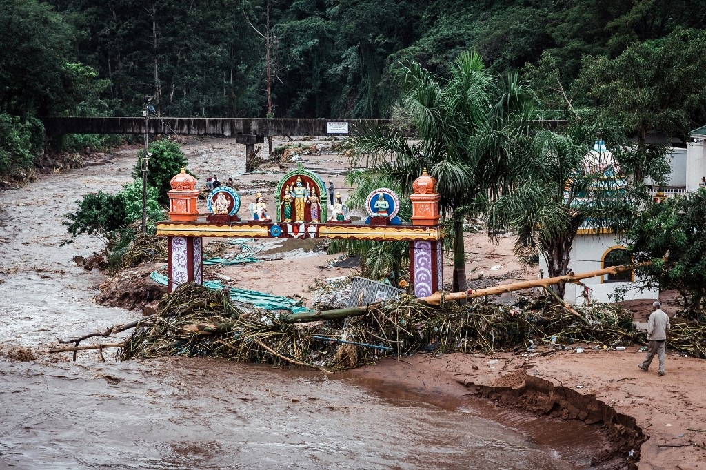 The Umhlatuzana Hindu Temple, south of Durban, damaged after the township was hit by heavy rain and flash floods following torrential downpour on April 23, 2019.
